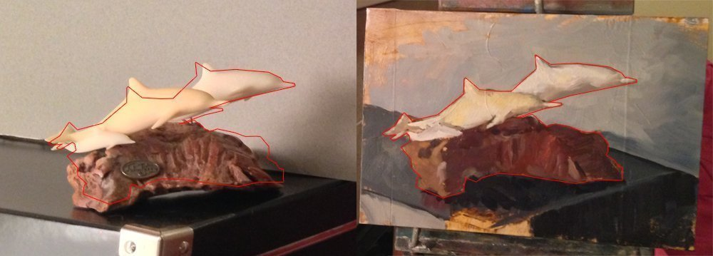 Drawing, I outlined the painting and put the outline over the still life to compare.
