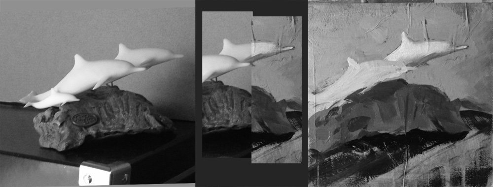 I removed all color. Then cut  one piece out of each image and put them together for a closer value comparison.