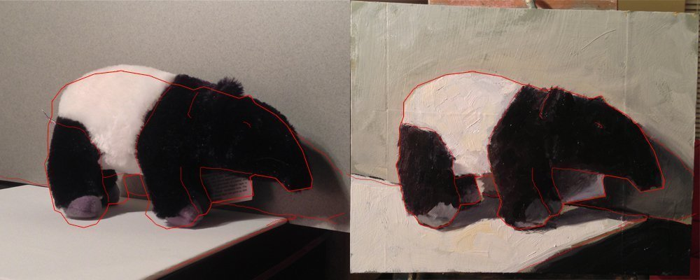 An outline of the painting over a picture of the stuffed animal to compare the drawing.
