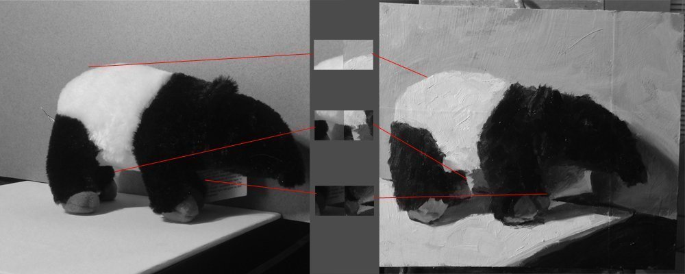 I removed all the color and brought pieces of the painting and the stuffed animal photo together for comparison.