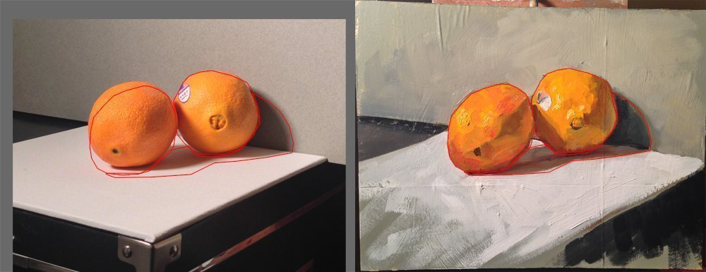 Here I outlined the painting and overlaid that outline on top of the picture of the still life for comparison.