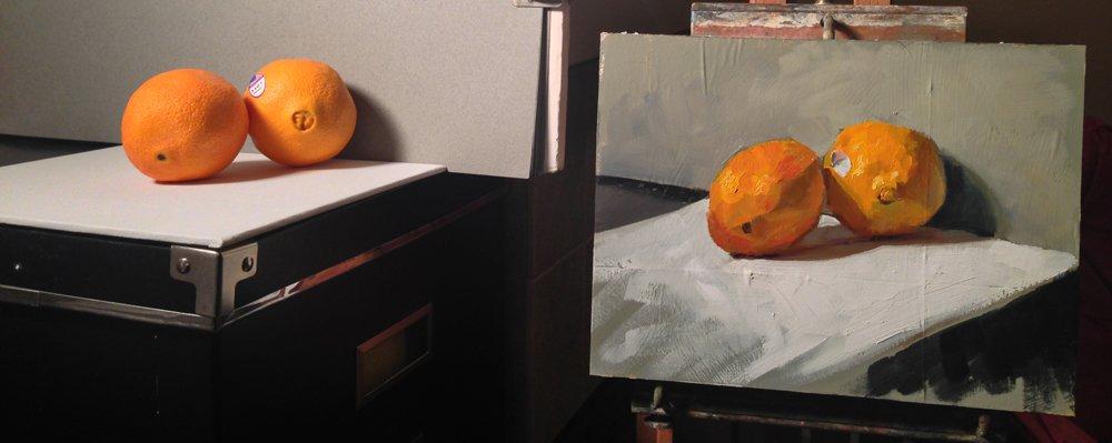 The painting setup.