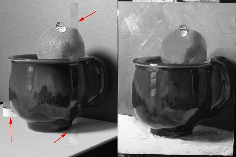The value comparison. I did something a bit different this time by cutting out pieces of the painting and laying them directly over the photo to compare some values.