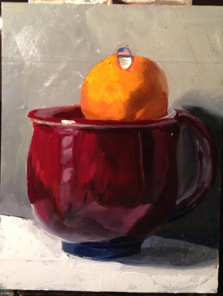 Second round of the cup and orange painting.