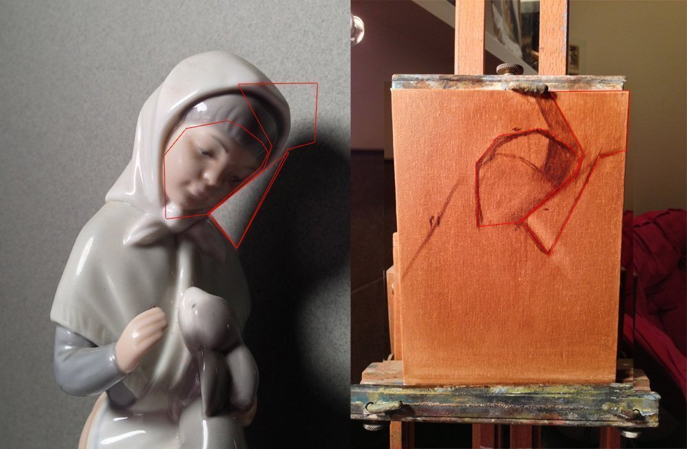This is interesting, this photo shows that the closeup picture that I took is way off from where I was looking at the still life, causing the drawing to look extremely wrong even in these beginning stages.