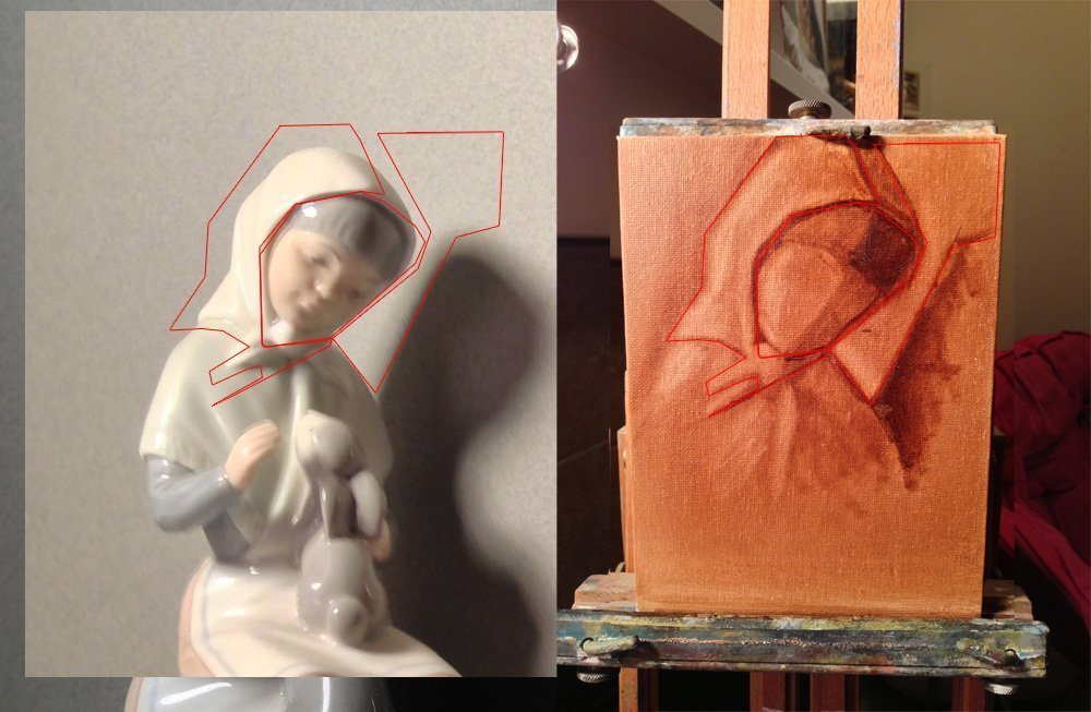 Here I erased the face and added in the left side of the head. Size here is very incorrect.