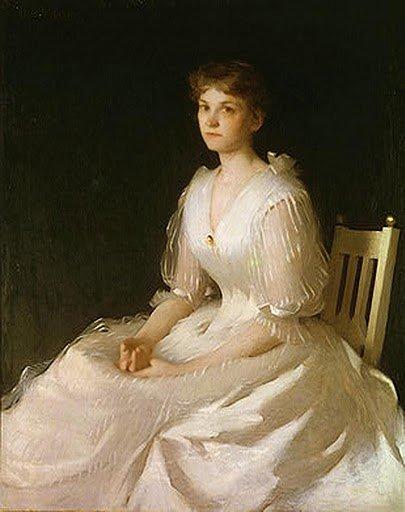 Frank W. Benson (1862-1951) Portrait in White 1889