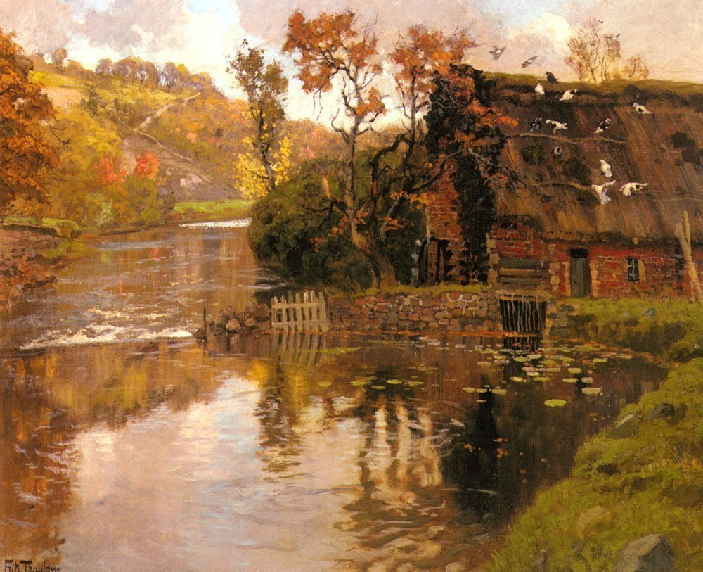 Thaulow_Frits_Cottage_By_A_Stream