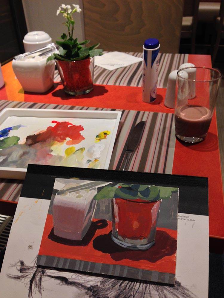 losing focus while painting a hotel breakfast table