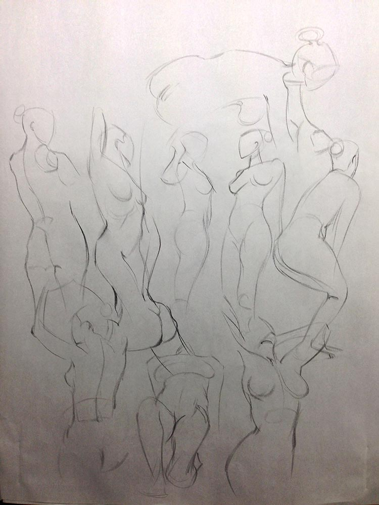 Life Drawing and Oil Painting Productive Day, 1.5 minute gestures