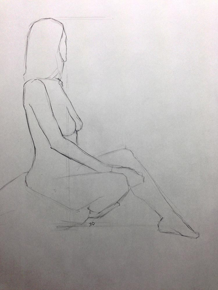 Life Drawing and Oil Painting Productive Day, 30 minute pose