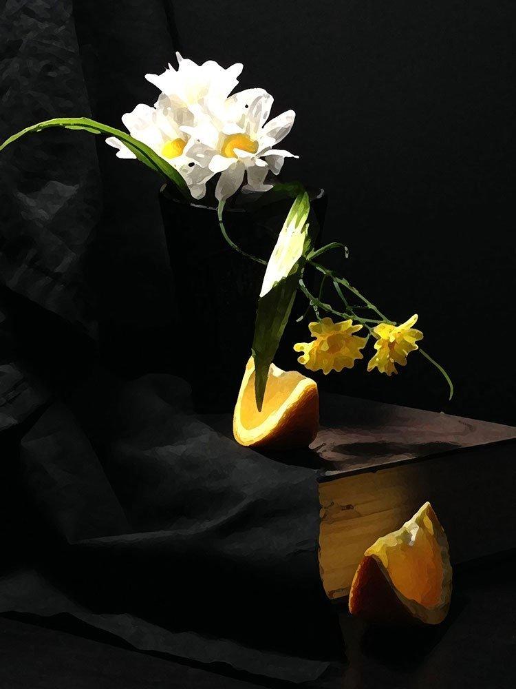 Flowers and orange, photoshop drybrush filter