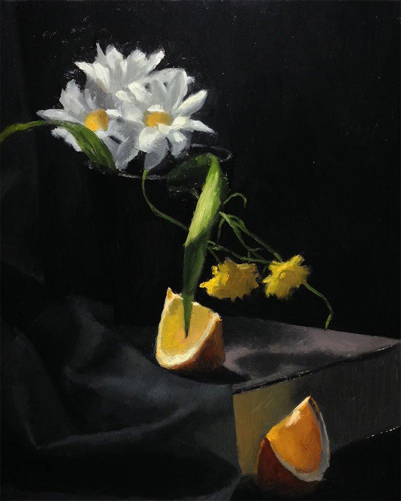 flowers and orange still life