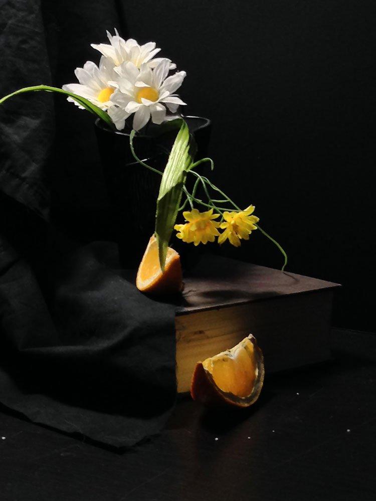 flowers and orange still life, subject image