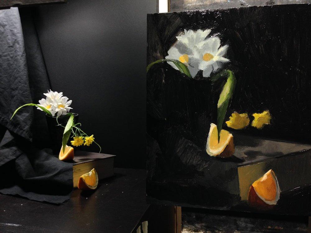 Flowers and orange, setup photo