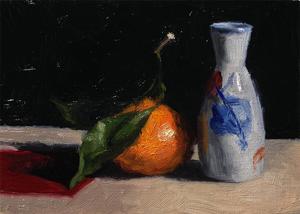 Life Drawing and Oil Painting Productive Day, satsuma and vase