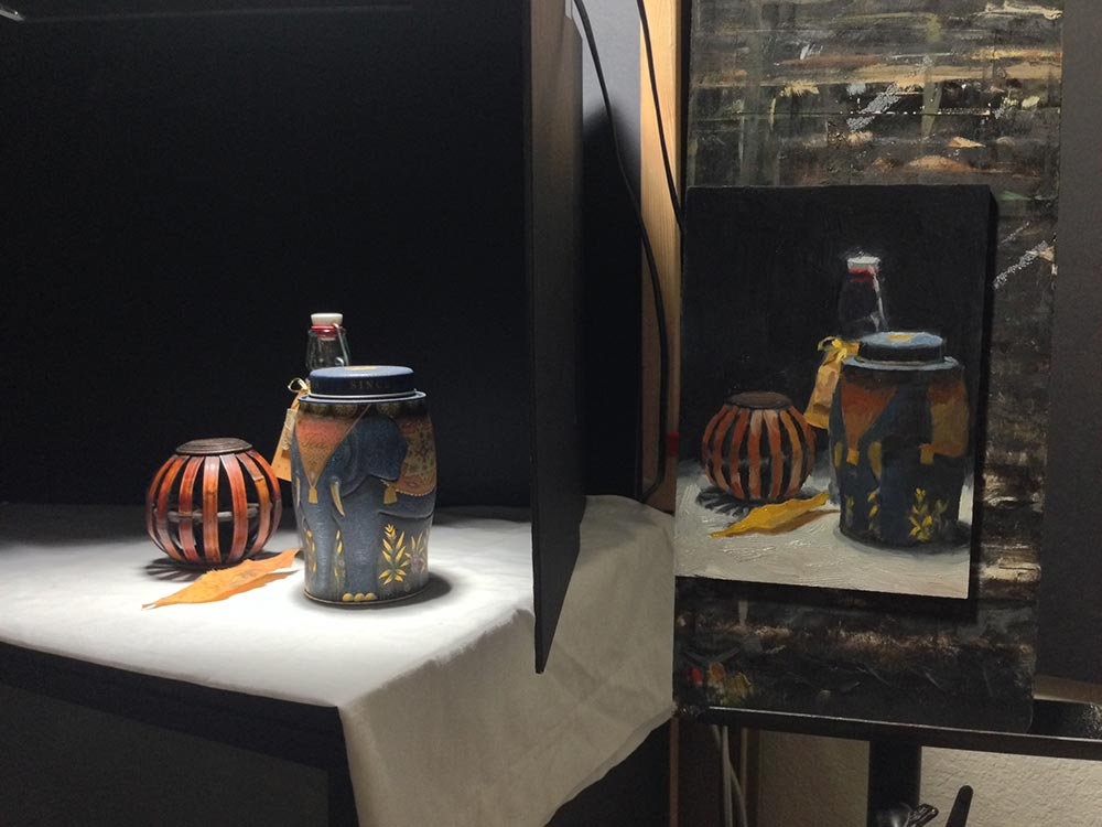 Still Life Painting: Containers, setup
