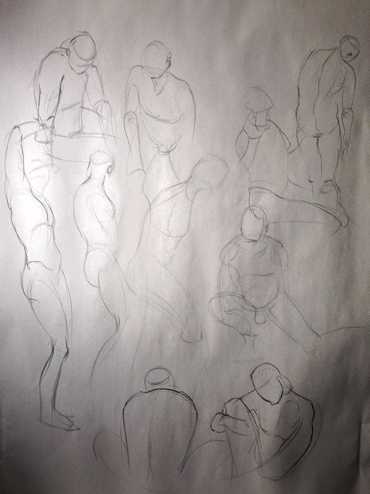 life drawing: 1.5 minute gestures