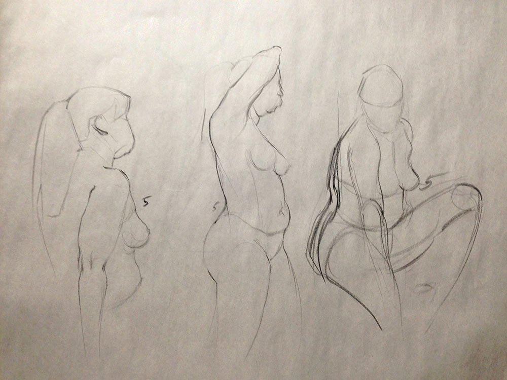 Taking my time at life drawing: 5 minute poses