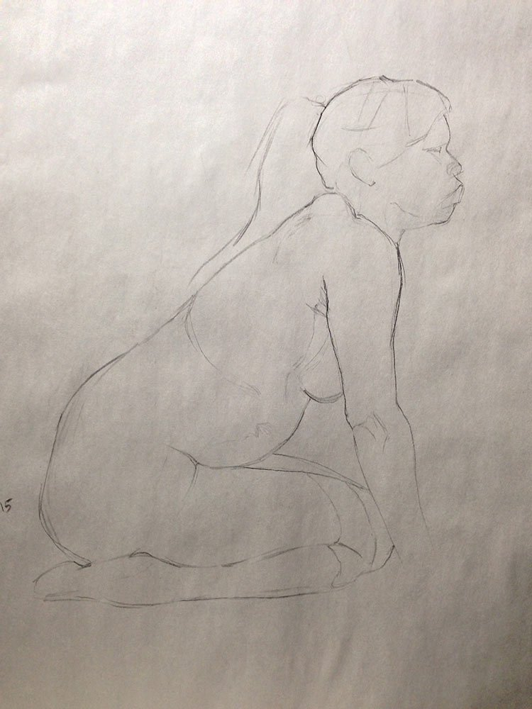 Taking my time at life drawing: 15 minute pose