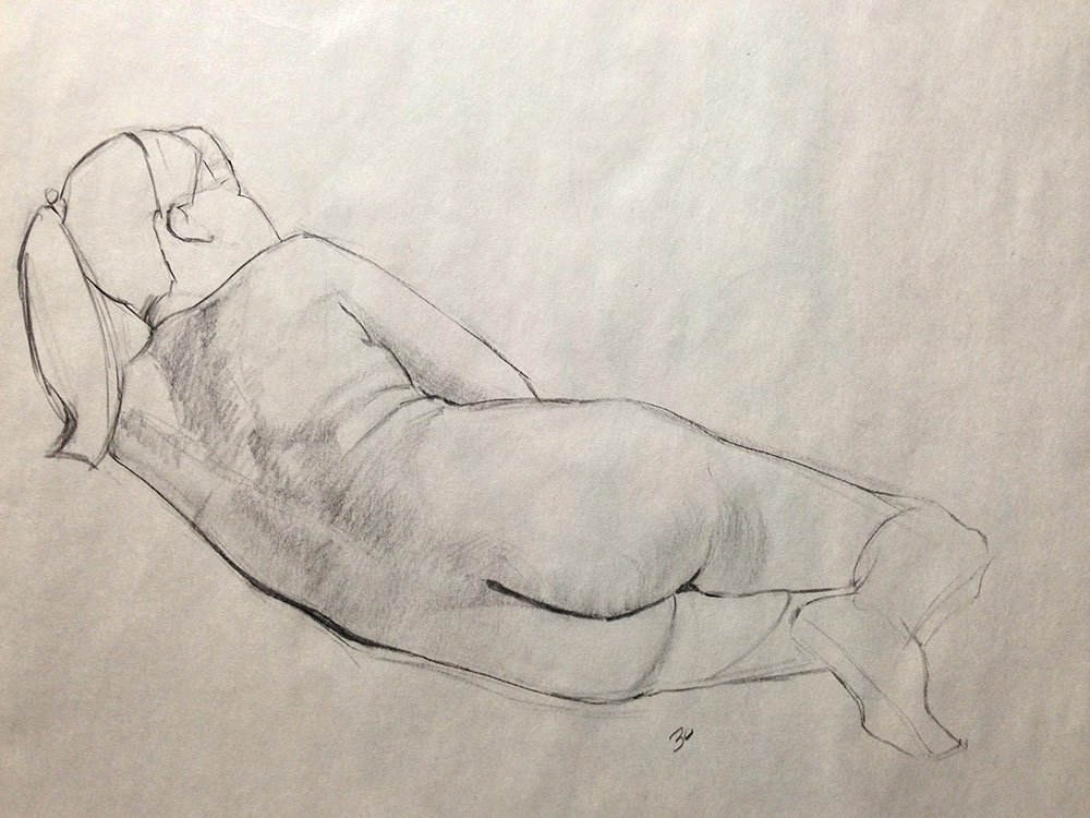 Taking my time at life drawing: 30 minute pose