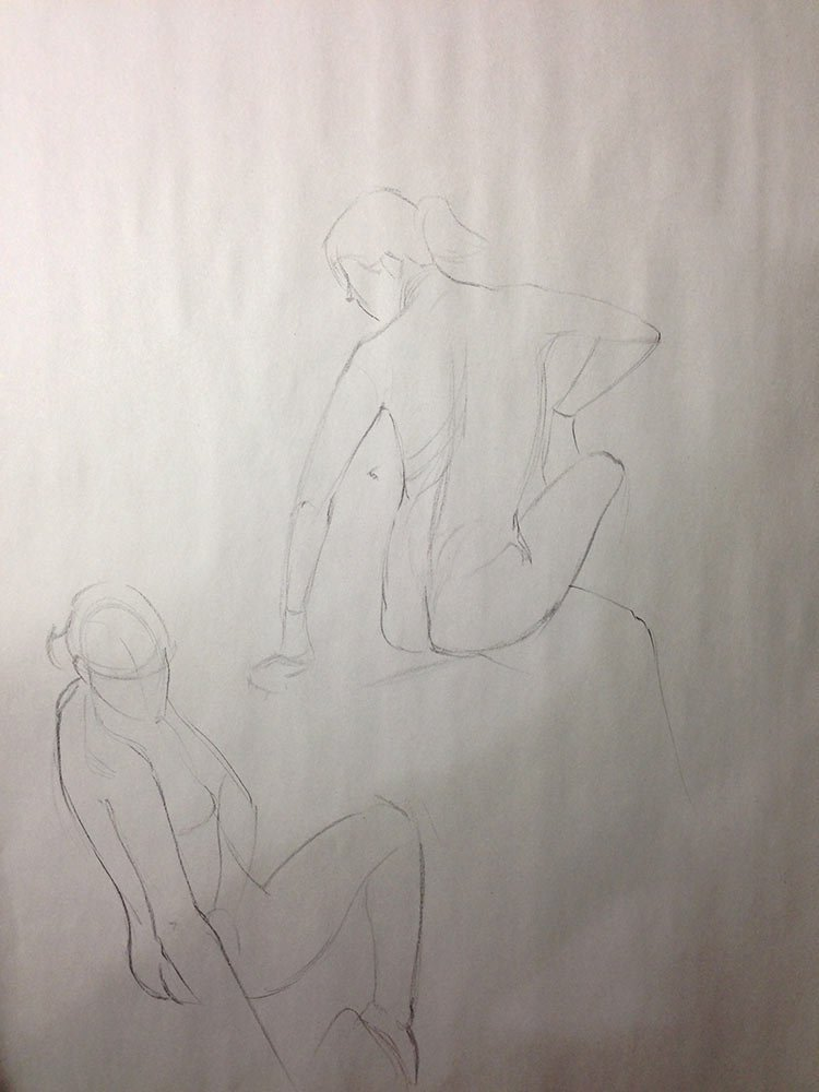 Figure Drawing After a Long Day, 5 minute poses