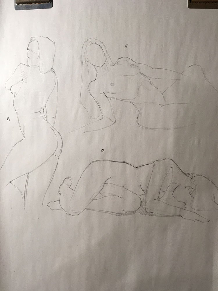 Life drawing and apple test, 5-10 min poses