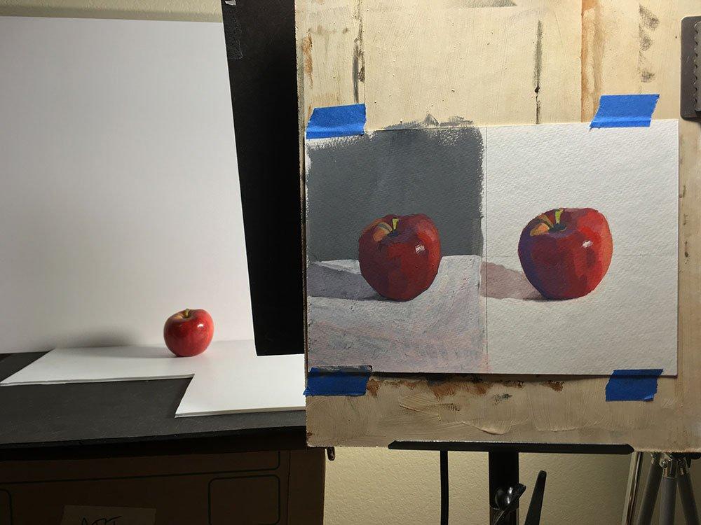 Life drawing and apple test, setup