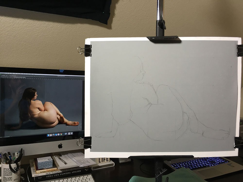 Two Paintings In Progress, setup