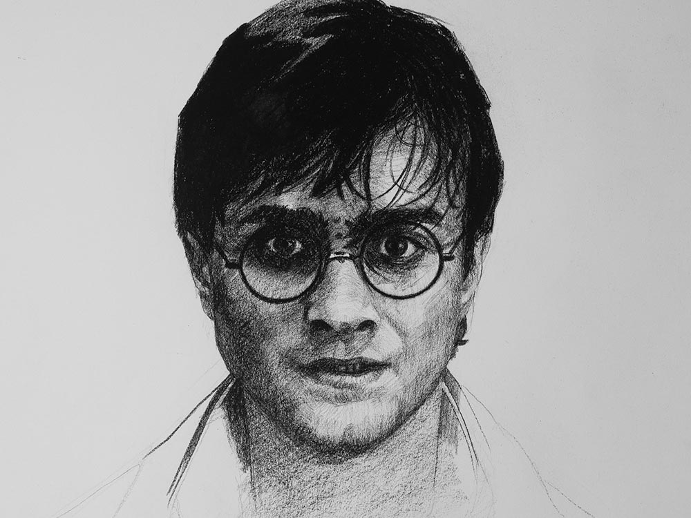 Harry Potter drawing in charcoal cover