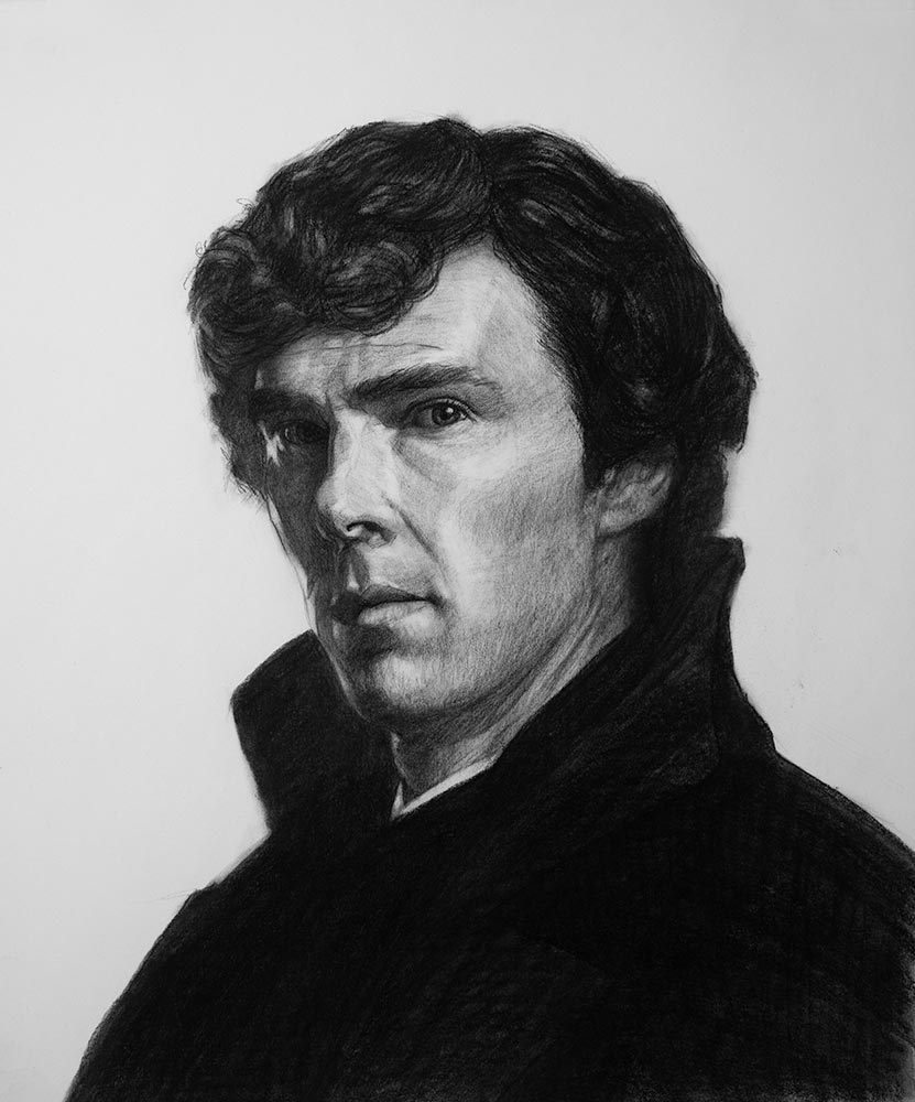 Sherlock drawing in charcoal