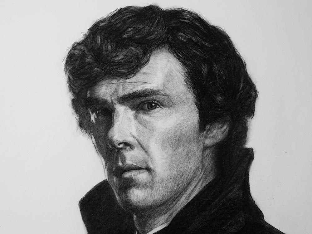 Sherlock drawing in charcoal cover