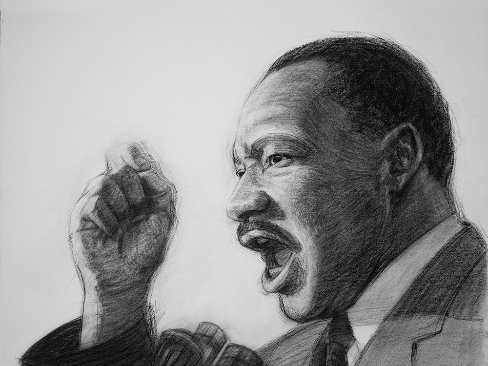 Dr Martin Luther King Jr Charcoal Drawing cover