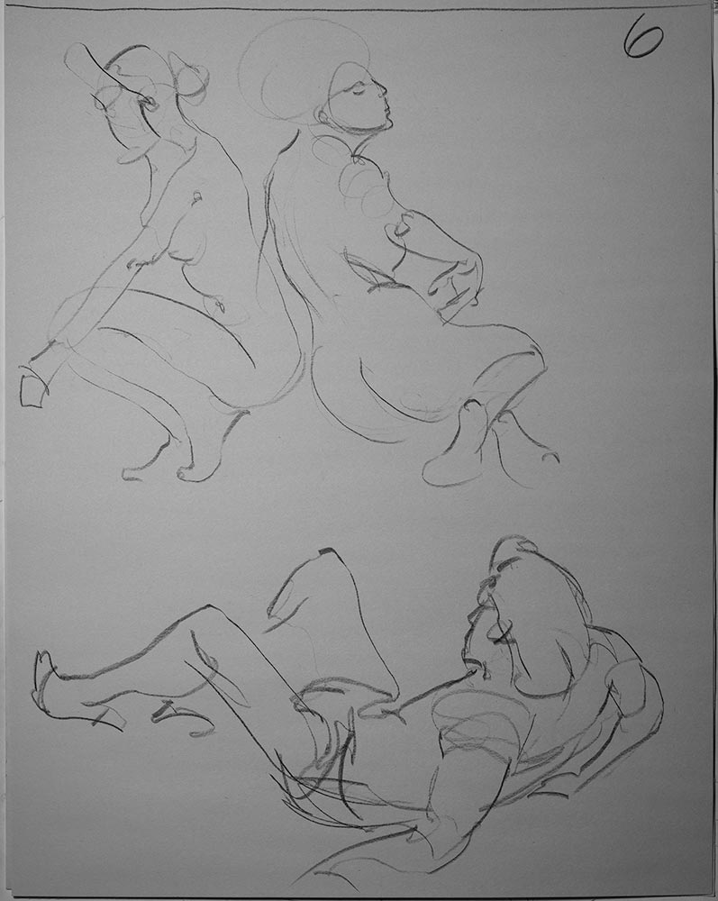 1 Minute gestures in charcoal