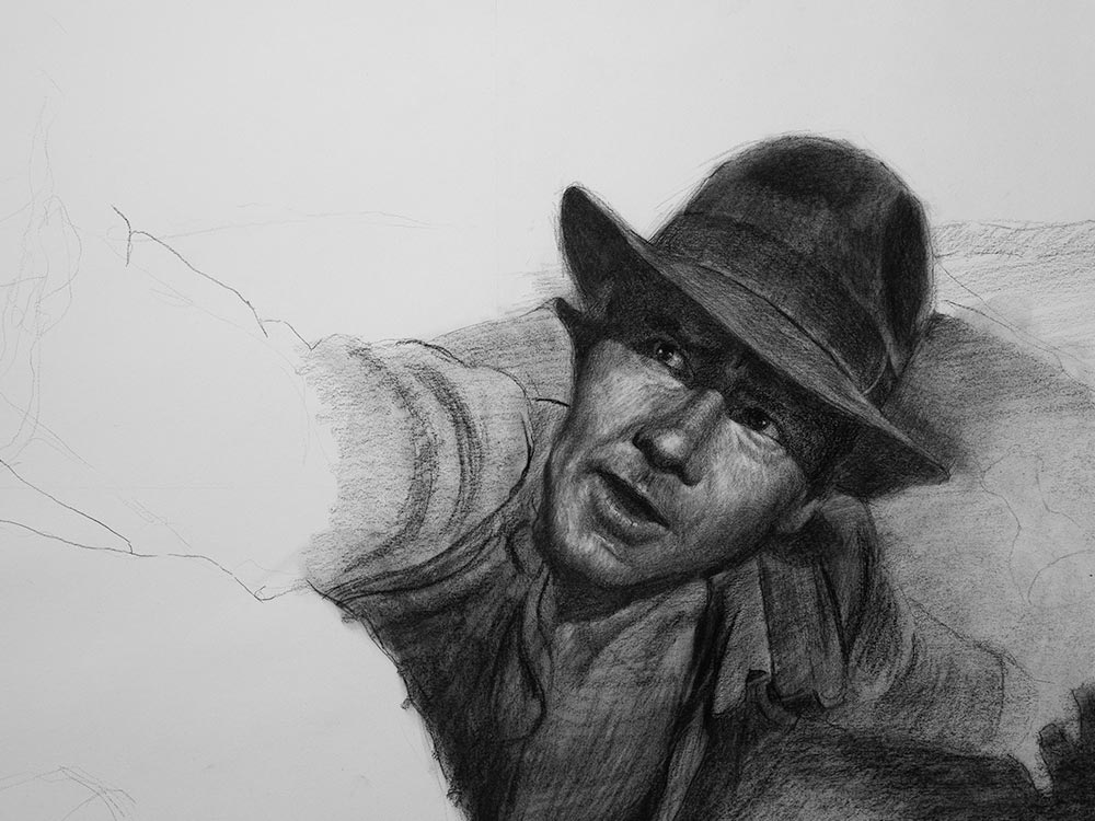 Indiana Jones drawing in charcoal cover