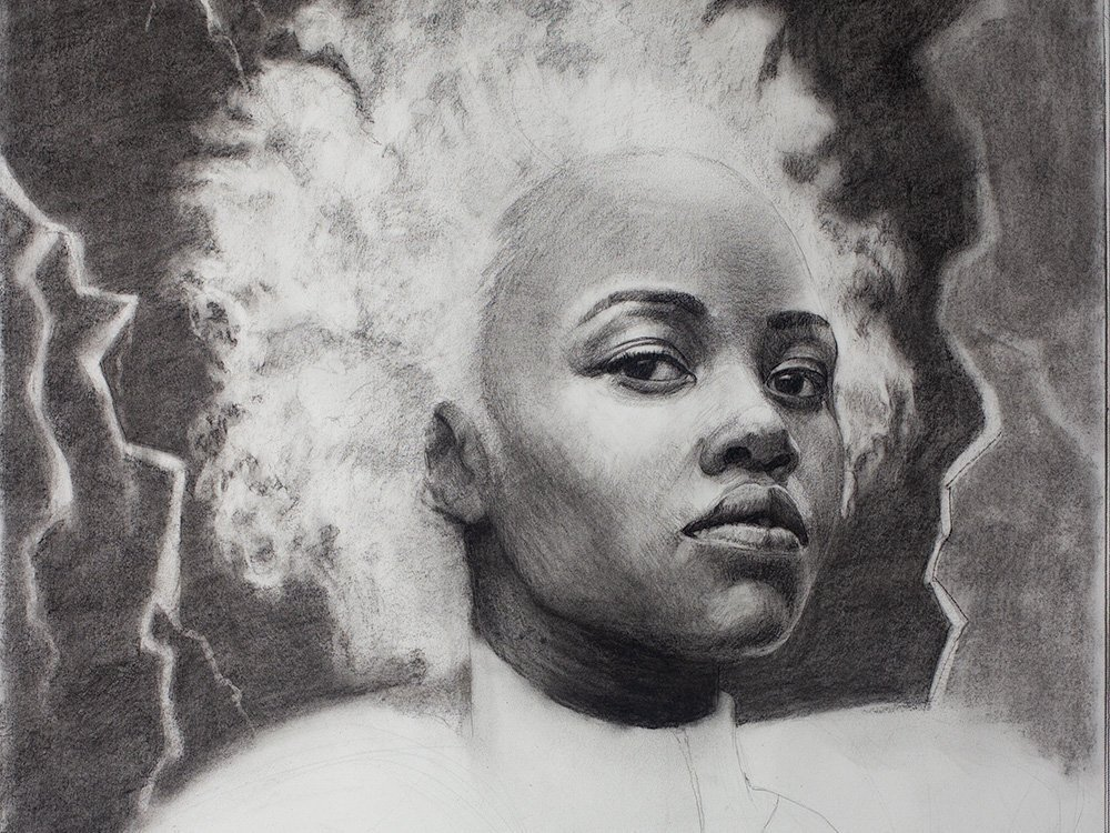 Marvel comics storm in charcoal drawing