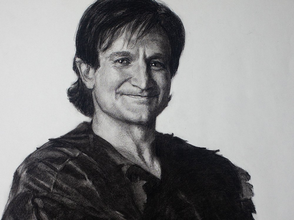 robin williams as peter pan drawing cover