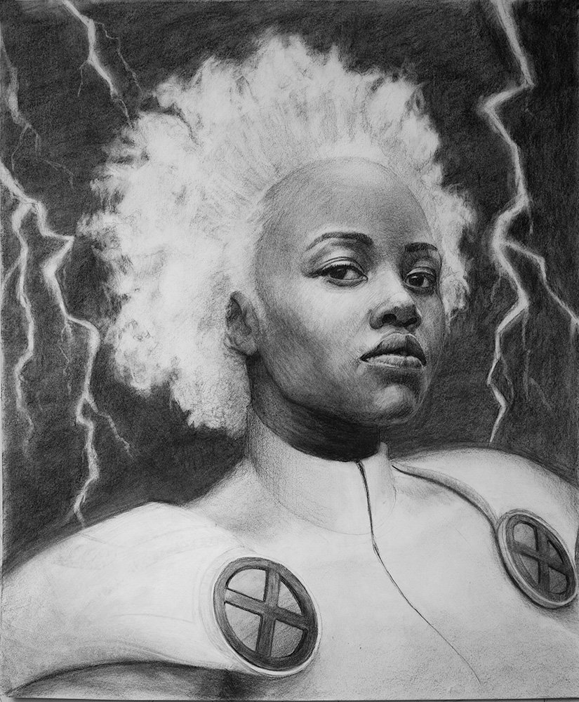 Storm from marvel comics drawing in charcoal