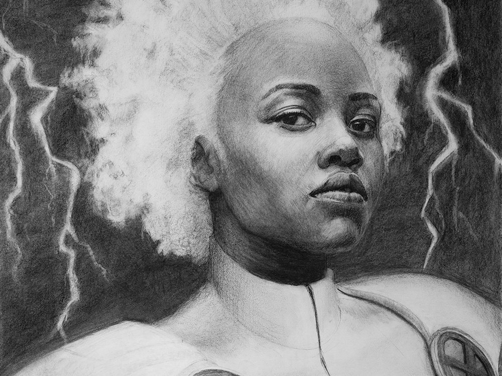 Storm from marvel comics drawing in charcoal cover