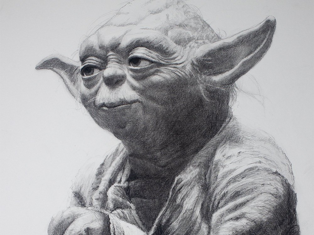 Yoda drawing in graphite cover