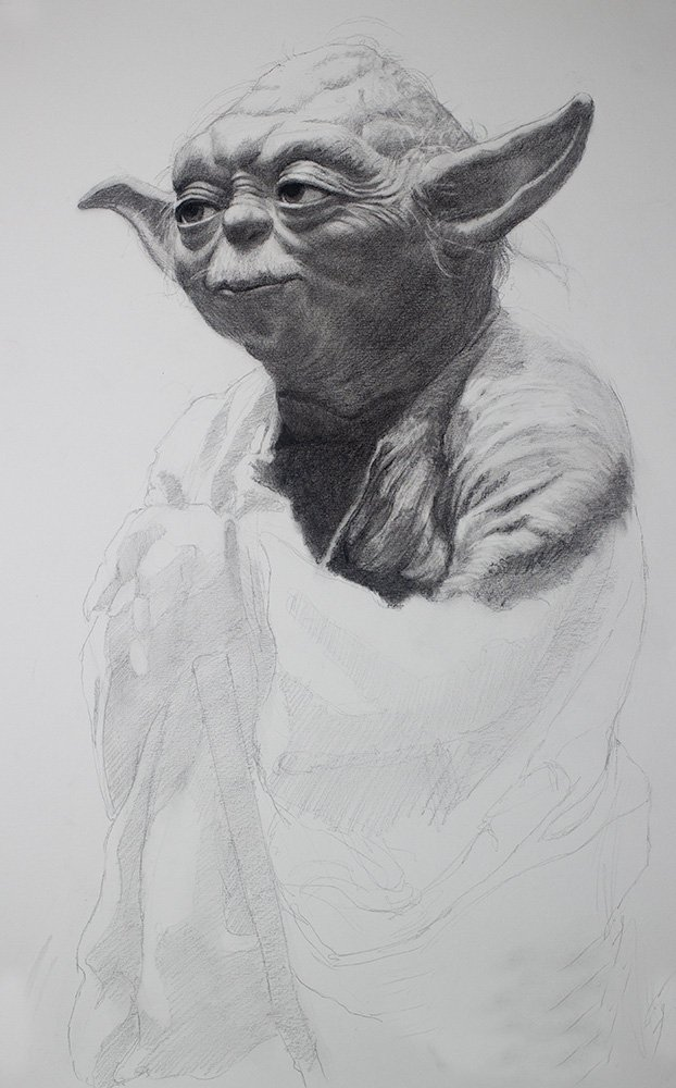 Yoda drawing in graphite
