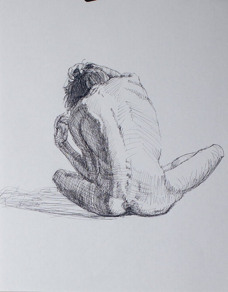 Modeled drawing in ink