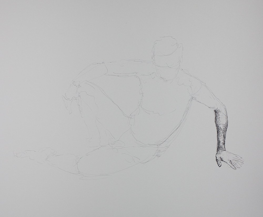 Long modeled drawing in ink