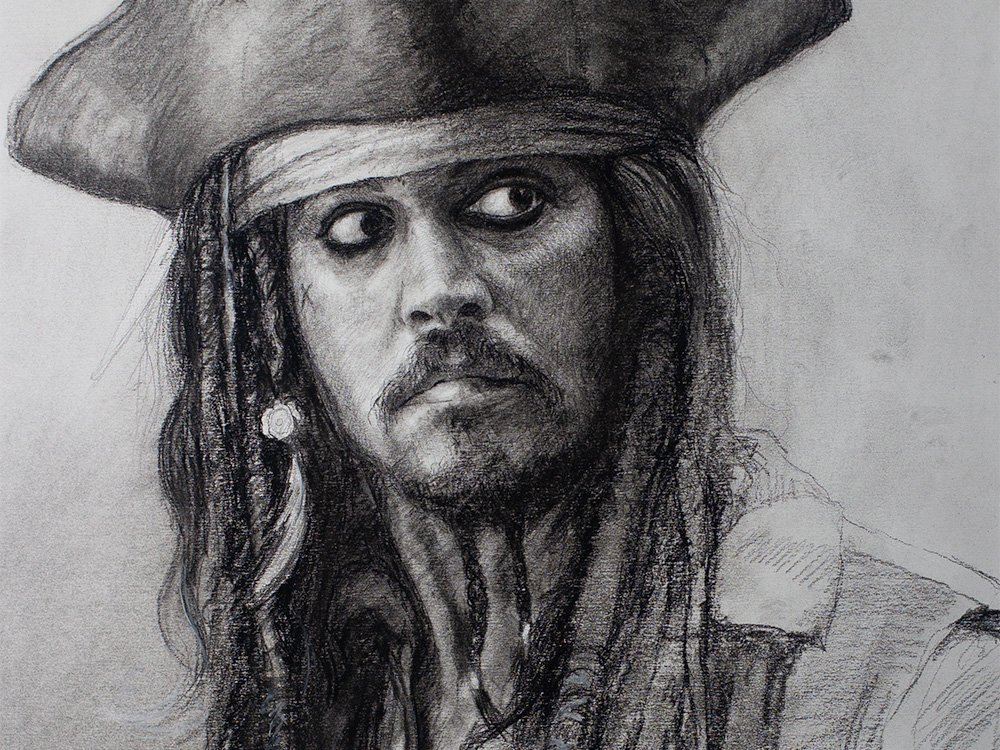 Captain Jack Sparrow in charcoal cover