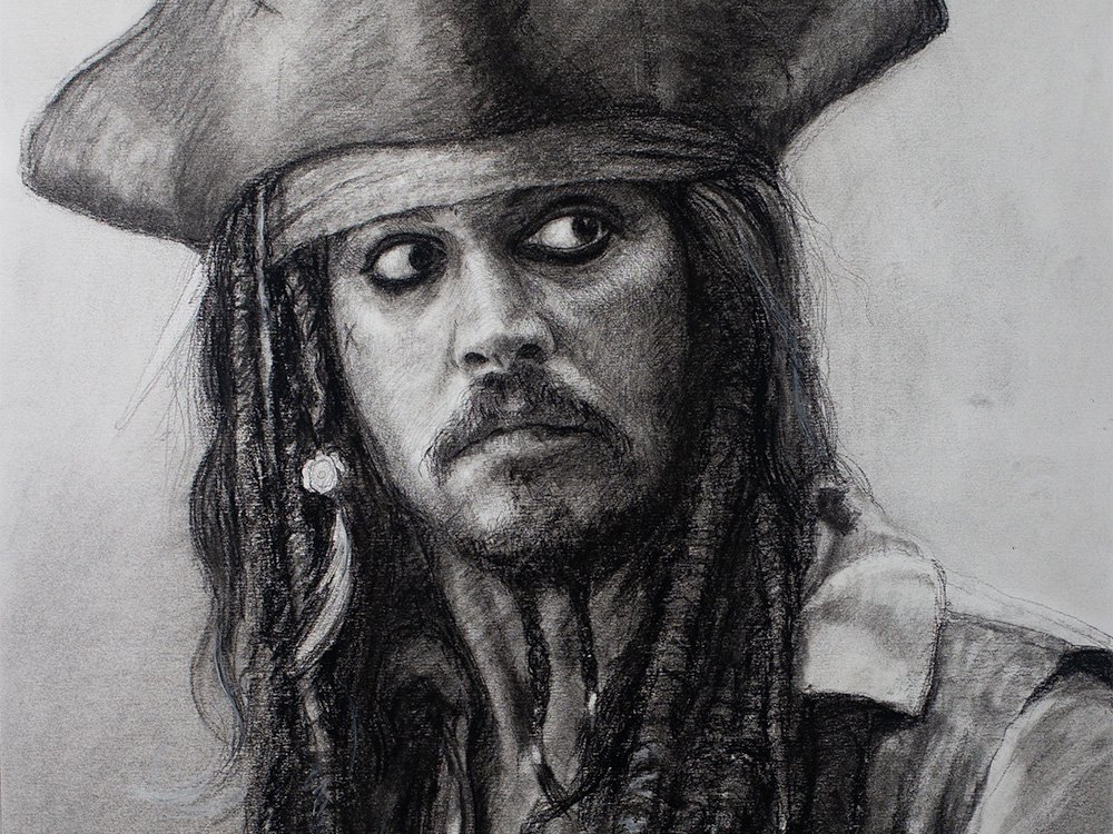 Captain Jack sparrow drawing in charcoal