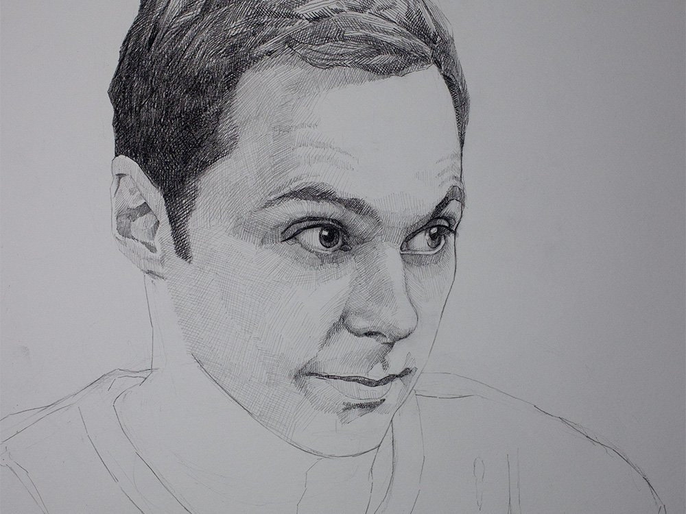 Sheldon cooper drawing in graphite cover