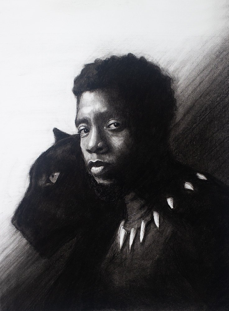 Black Panther Drawing in Charcoal