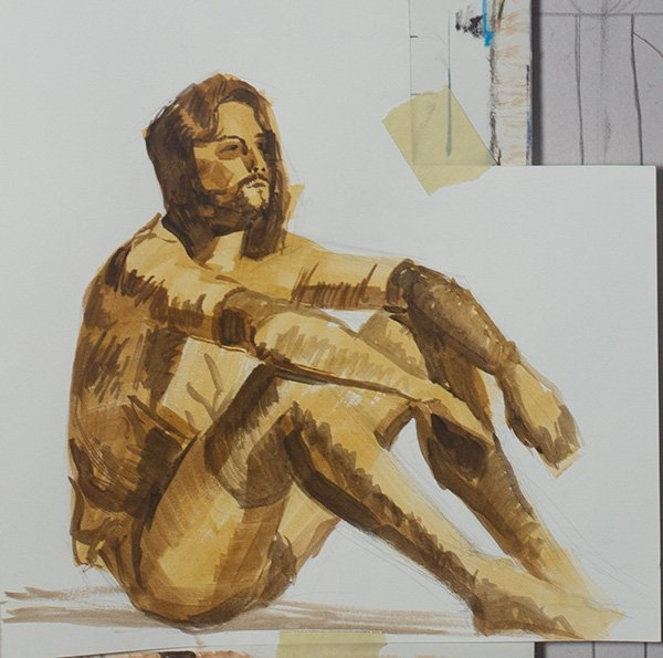 Modeled Drawing in watercolor
