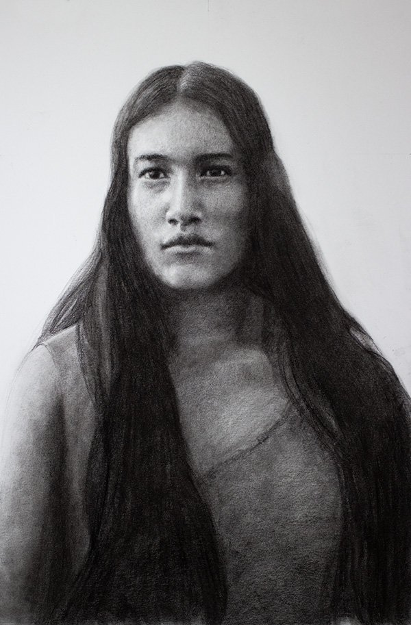 Pocahontas Drawing in Graphite